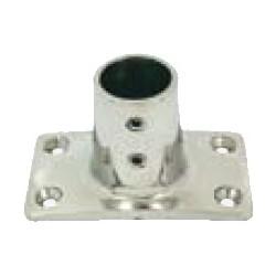 Base rettangolare dritta 90° Ø 25 mm. inox AISI 316