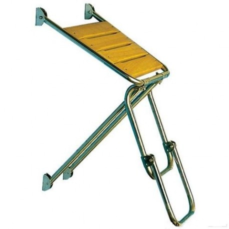 Scaletta acciaio inox con plancia Iroko 2 gradini