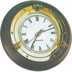 Orologio Ottone Lucido su Legno 270 mm.