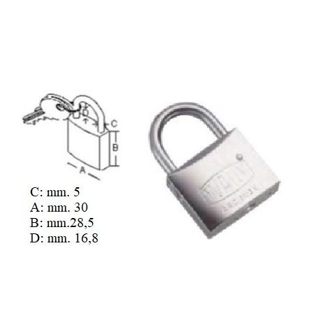 Lucchetto acciaio inox 30 mm. arco corto chiave unica