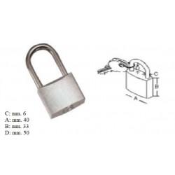 Lucchetto acciaio inox 40 mm. chiave unica