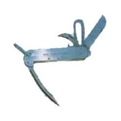 Coltello in acciaio inox con lama, caviglia, apribottglie e aprigrilli.