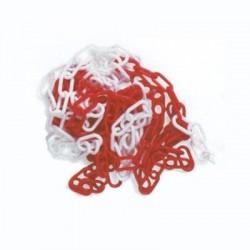 Catena in plastica D. 6 mm. colore bianco-rosso conf. mt. 25